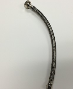 """Braided Stainless Steel 3/8 Comp X ½ """" IP 12"""" Lav Supply Brass Nut Cat. No. 335S001"""