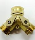 Brass 2 Way Garden Hose Y Splitter with Shutoffs Cat. No. 765B021